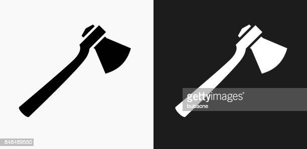 Axe Icon on Black and White Vector Backgrounds