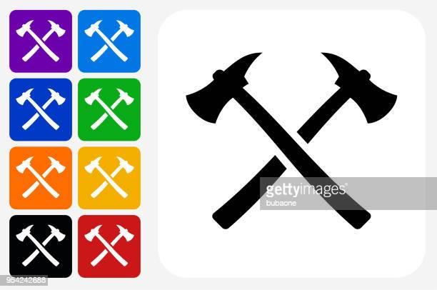 Axe Icon Square Button Set