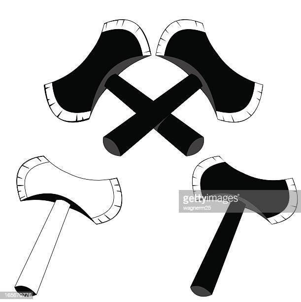 axe in black and white - hatchet stock illustrations, clip art, cartoons, & icons
