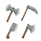 Axe with scythe icon set