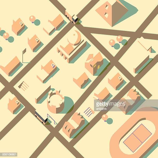 axonometric blick auf die stadt - stadtplan stock-grafiken, -clipart, -cartoons und -symbole