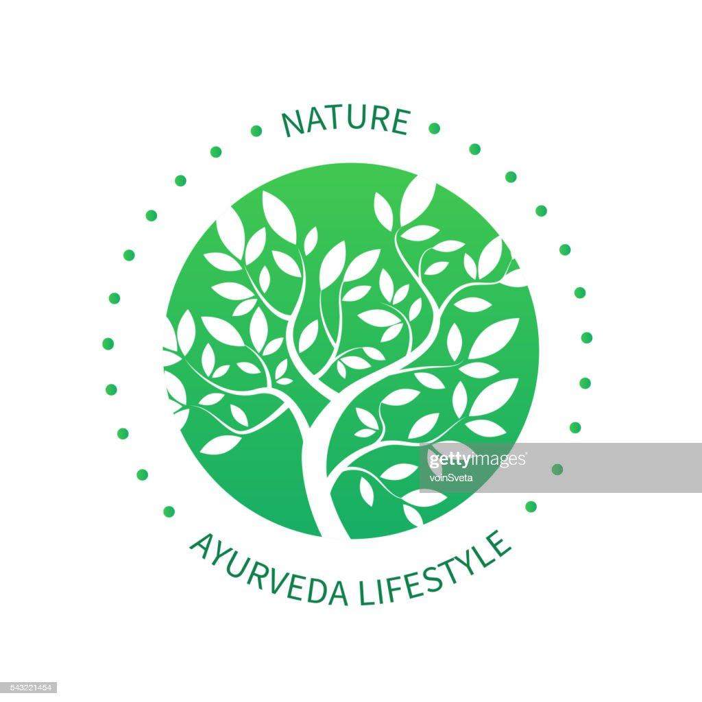 Ayurvedic Vector Tree Icon Alternative Medicine Logo stock