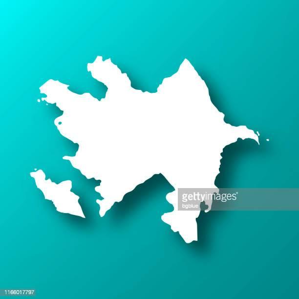 影を持つ青緑の背景上のアゼルバイジャン地図 - アゼルバイジャン点のイラスト素材/クリップアート素材/マンガ素材/アイコン素材