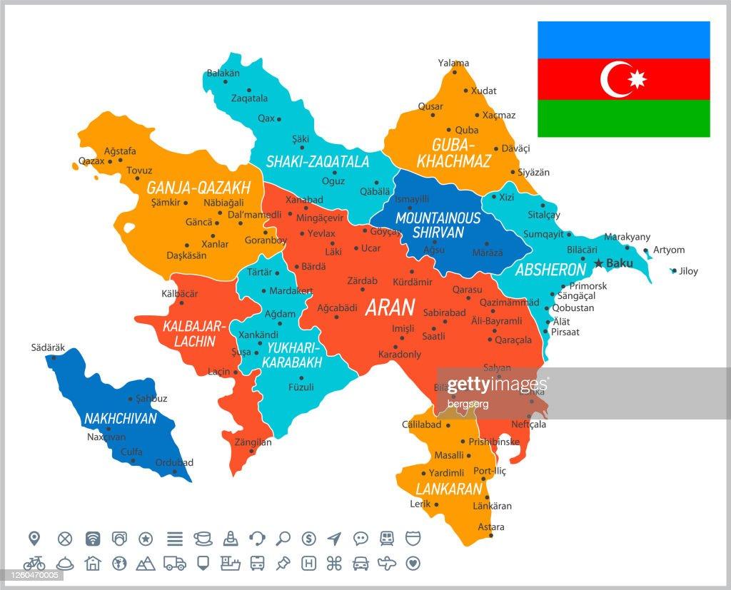 Aserbaidschan Vektor Karte Vektorillustration Mit Navigationssymbolen Regionen Und Nationalflagge Stock Illustration Getty Images