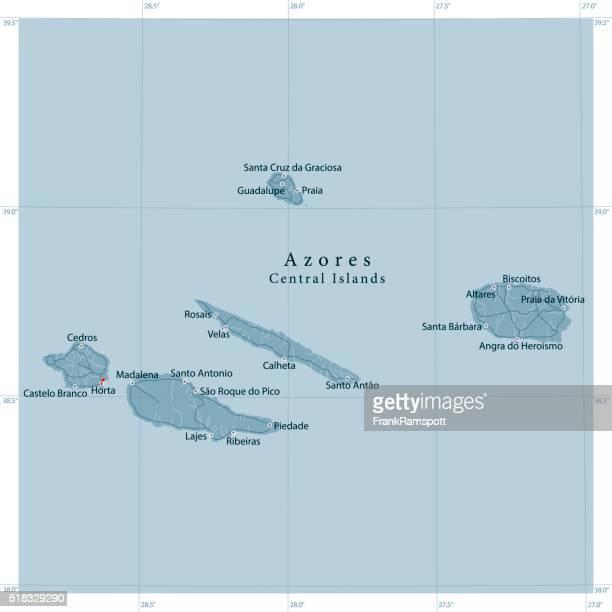 azoren zentrale inseln vektor landkarte - portugal stock-grafiken, -clipart, -cartoons und -symbole