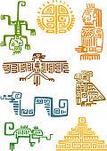Aztec and maya ornamental symbols