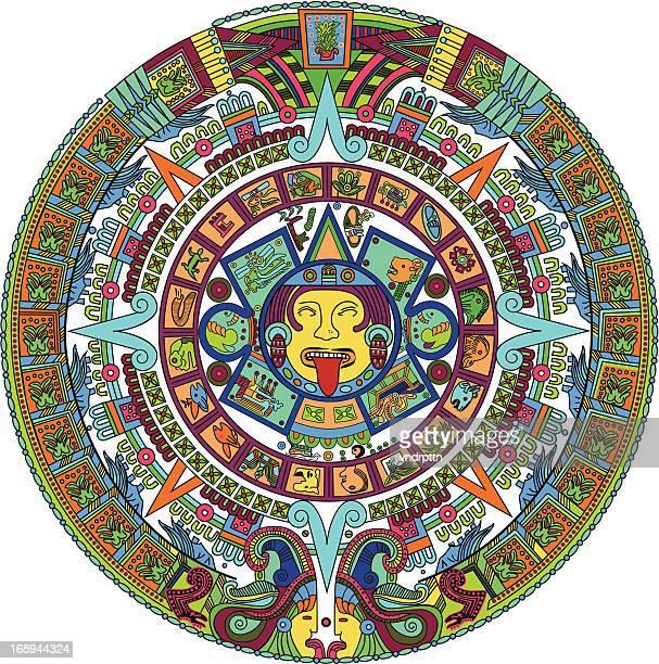 ilustraciones, imágenes clip art, dibujos animados e iconos de stock de azteca calendario ilustración - calendario maya