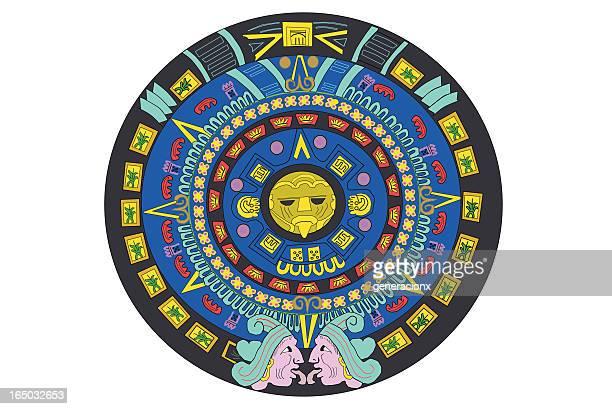 ilustraciones, imágenes clip art, dibujos animados e iconos de stock de calendario aztec - calendario maya