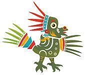 Aztec Codex Borbonicus art imitation vector illustration. Tribal native mexican american bird feathered totem. Aztec Bird god isolated.