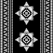 Aztec embroidery pattern design seamless vector. Abstract geometric border texture with stitch boho style. Bohemian print with indian, african, native american, peru, chile, mexican ornament motif.