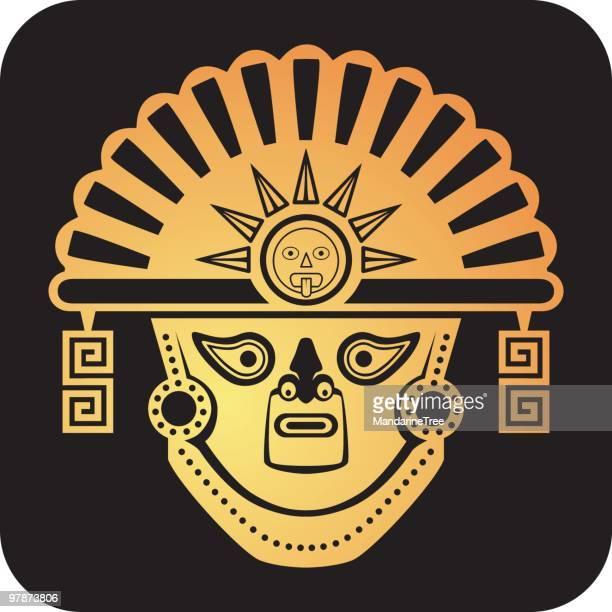 aztec god mask - ancient civilization stock illustrations, clip art, cartoons, & icons