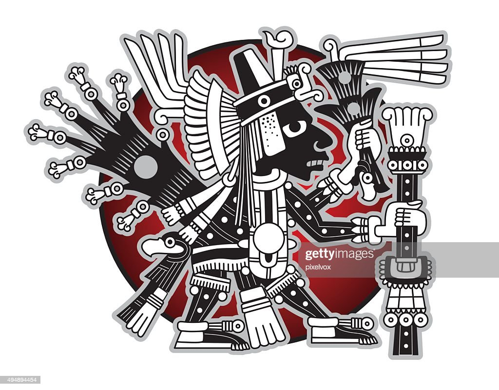 Aztec god of commerce and travelers vector illustration