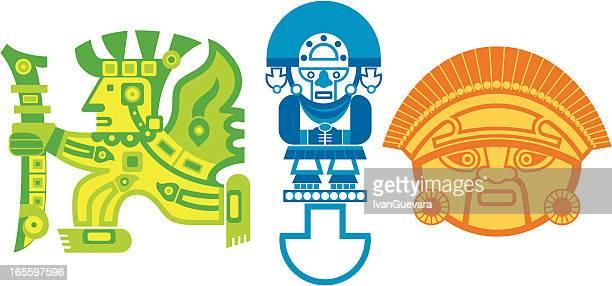 aztec logos - tribal art stock illustrations