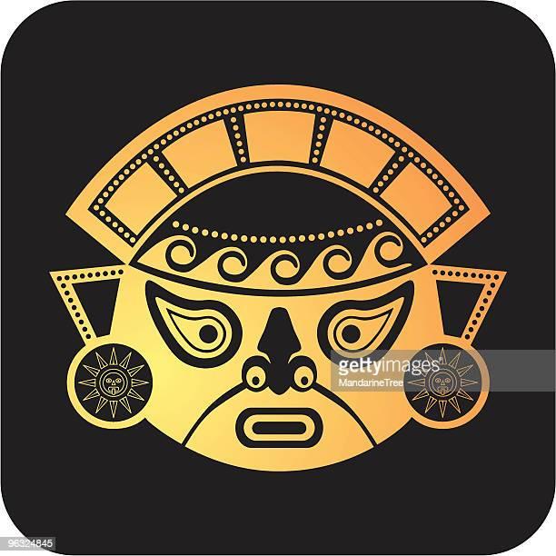 aztec mask - ancient civilization stock illustrations, clip art, cartoons, & icons