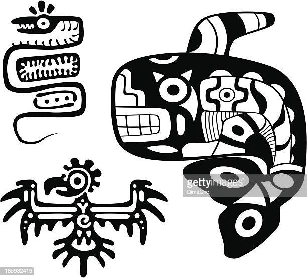 aztecs art - killer whale stock illustrations, clip art, cartoons, & icons