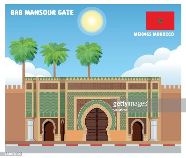 """bab mansour"" gate, meknes, morocco - monument stock illustrations"