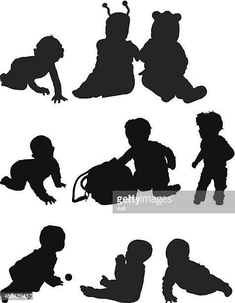 ilustraciones, imágenes clip art, dibujos animados e iconos de stock de bebé haciendo diferentes actividades - obesidad infantil