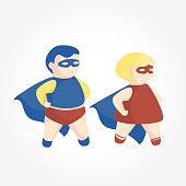 Babies in super heroes costume vector illustration