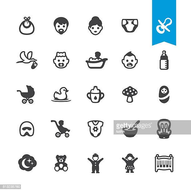 babies vector icons - breakfast cereal stock illustrations, clip art, cartoons, & icons