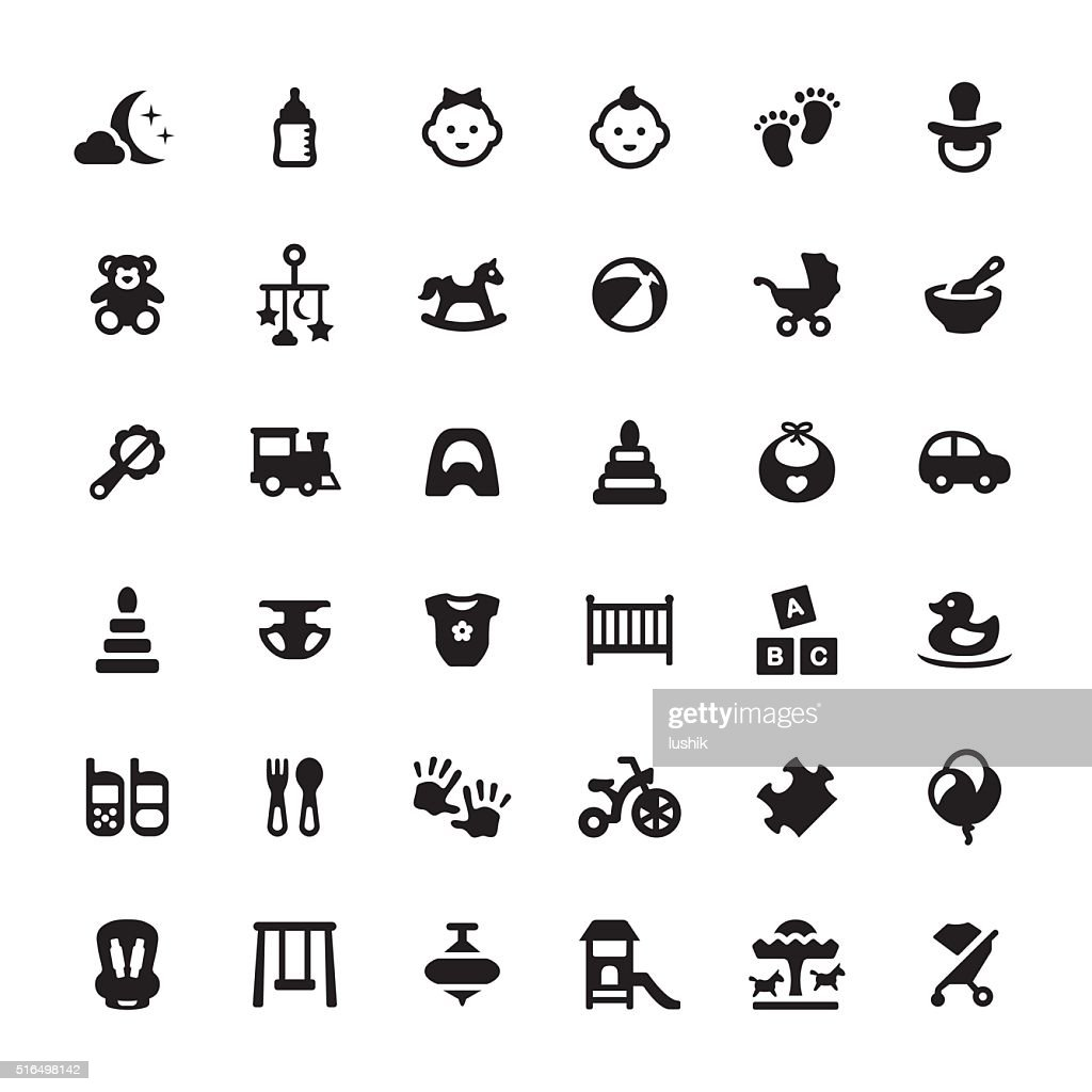 Babies vector symbols and icons : stock illustration