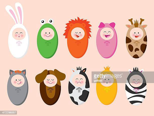 Babies with animal suits