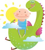 Baby and dragon cloud sun flying happy friends