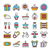 Baby and Kids Colored Vector Icons 2