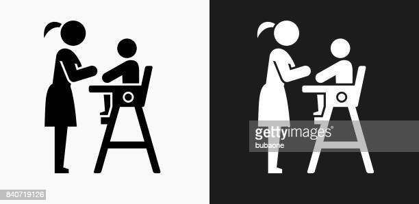 Baby and Mother Icon on Black and White Vector Backgrounds