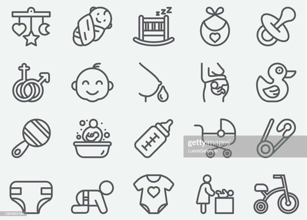 Baby and Newborn Line Icons : stock illustration