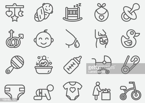 baby and newborn line icons - milk bottle stock illustrations