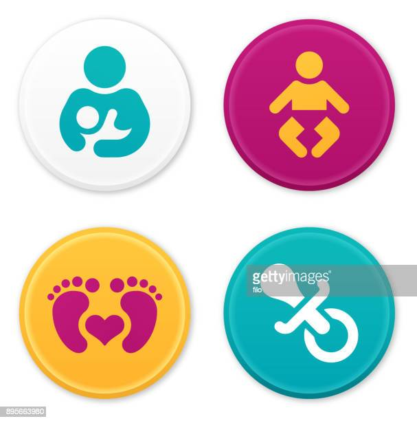 baby and parent icons and symbols - childbirth stock illustrations