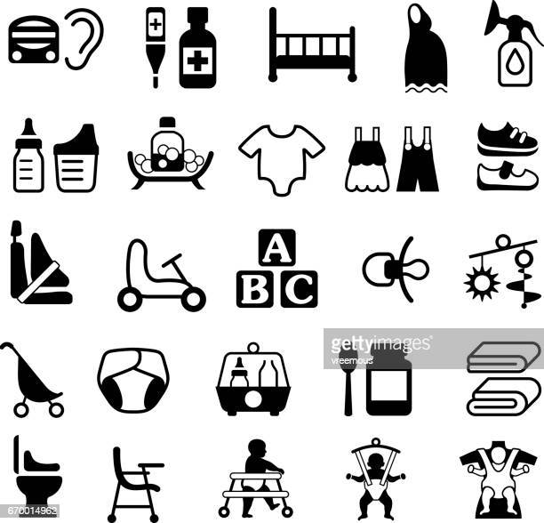 baby and parenting products icons - child care stock illustrations