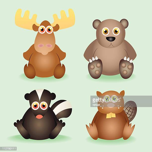 baby animal set - funny beaver stock illustrations
