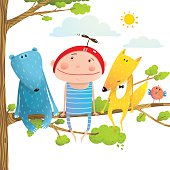 Baby animals and kid childish funny friends cartoon