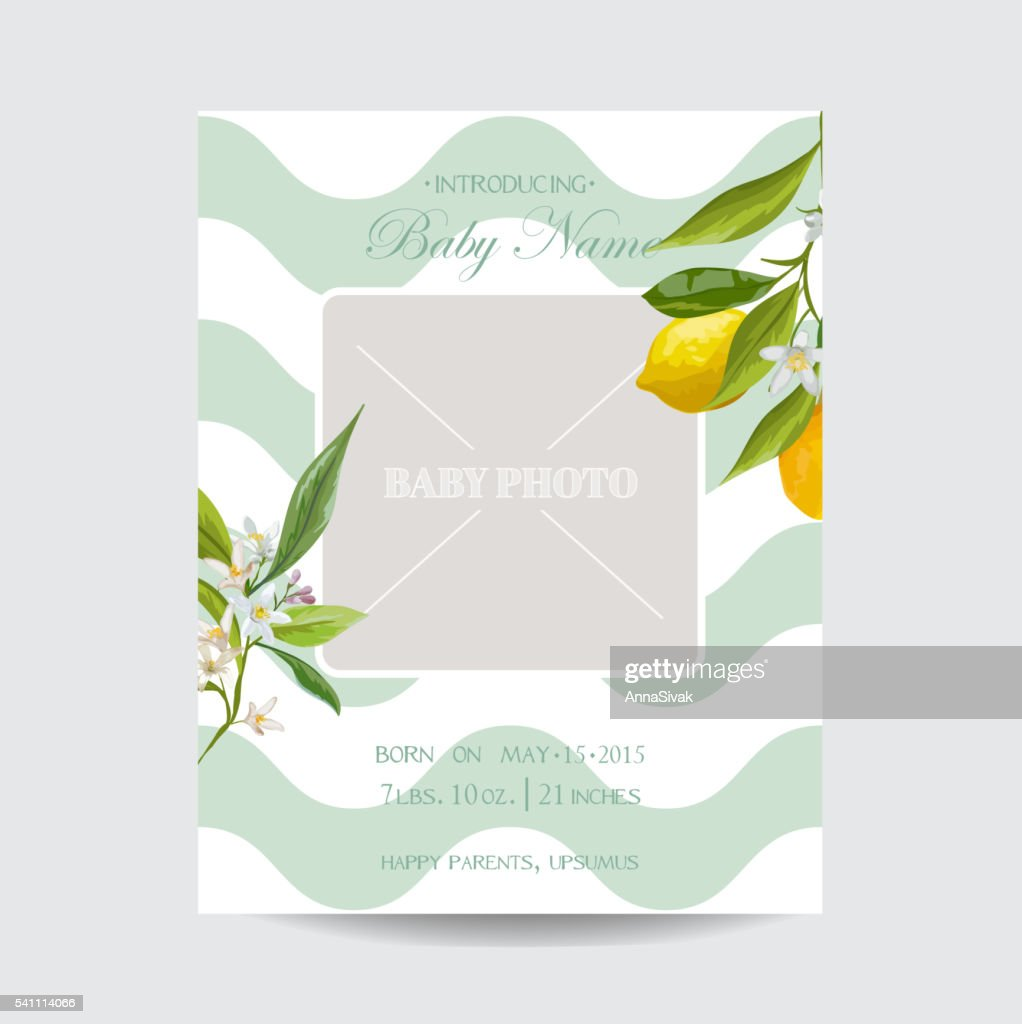 Baby Arrival Card with Photo Frame Blossom Lemon Flowers Theme
