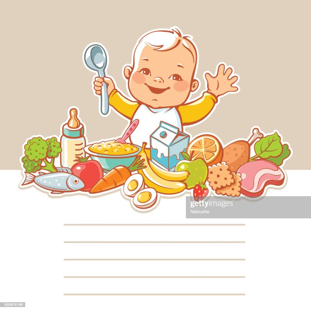 Baby at table with food.