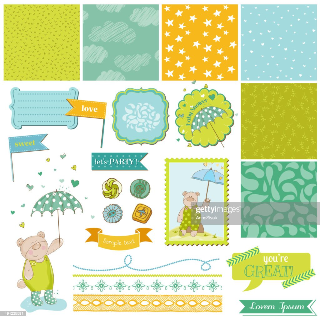 Baby Bear Shower Theme - Scrapbook Design Elements