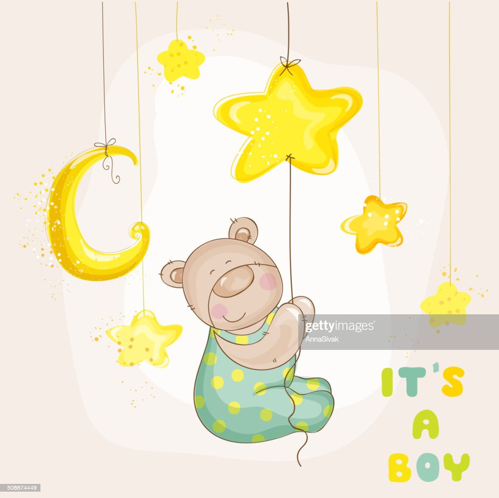 Baby Bear with Moon and Stars - Arrival Card