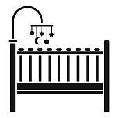 Baby bed icon, simple style