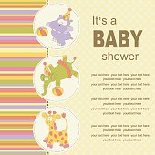 Baby birthday greeting card or invitation