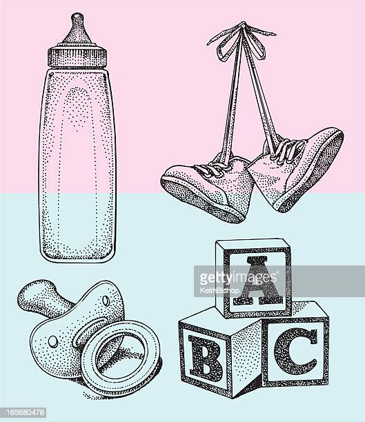 baby bottle, blocks, toddler pacifier - bloco stock illustrations