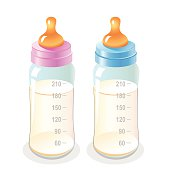 Baby bottles on a white background.