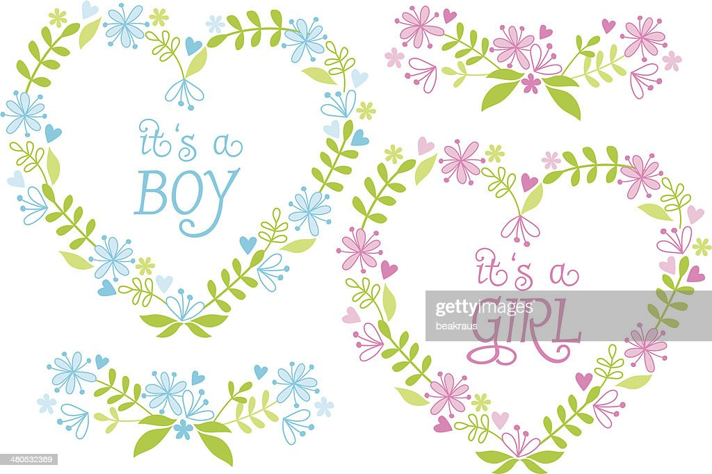 Baby boy and girl, floral hearts, vector : Vector Art