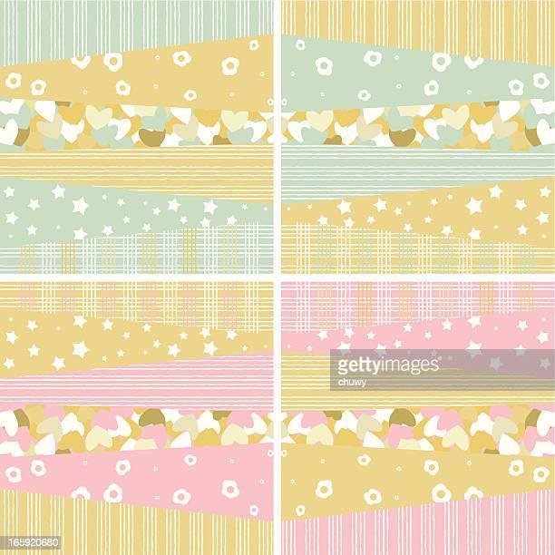 ilustraciones, imágenes clip art, dibujos animados e iconos de stock de baby boy and girl patrones - patchwork