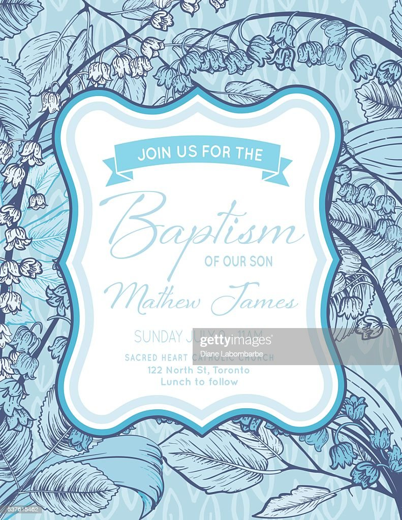 Baby Boy Baptism Or Christening Invitation Template Vector Art