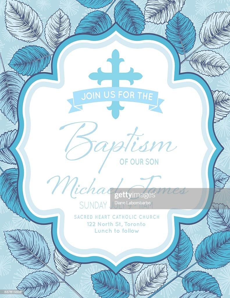 Baby Boy Baptism Or Christening Invitation Template Vector Art