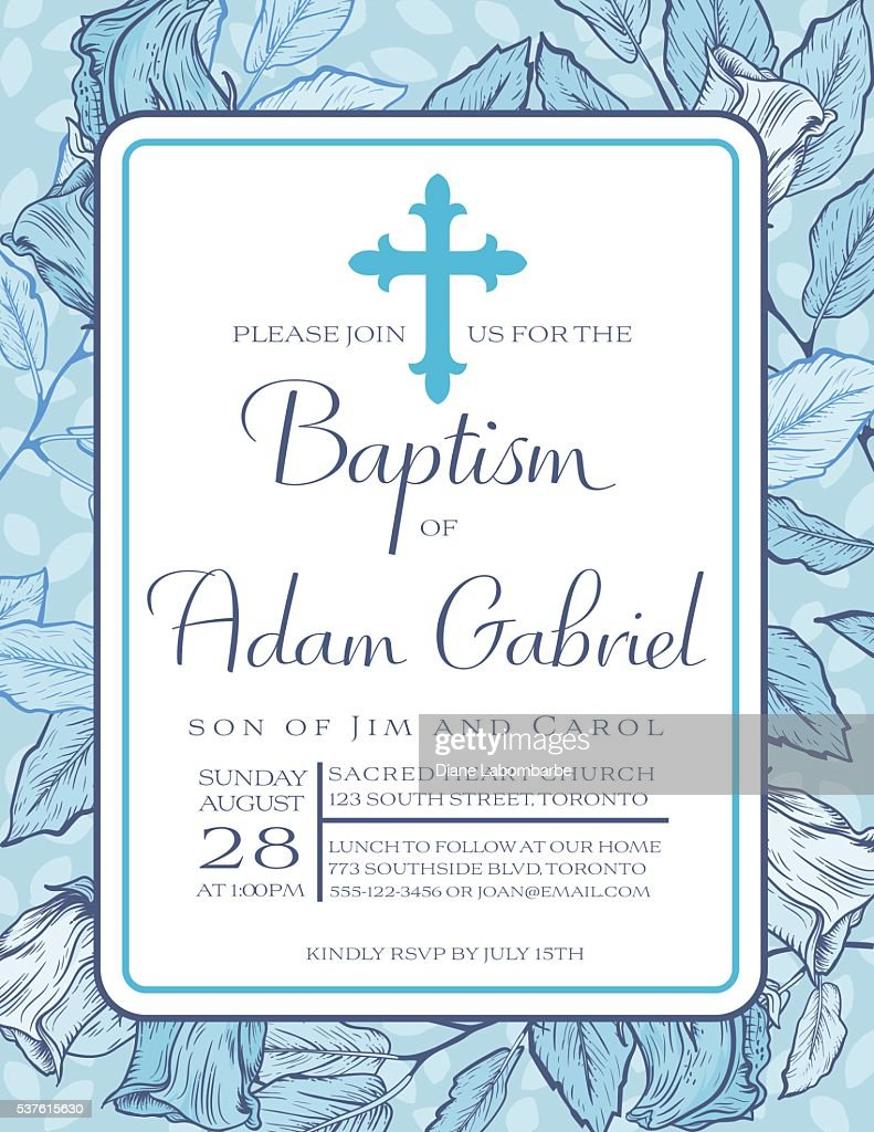 Baby Boy Baptism Or Christening Invitation Template Vector Art ...