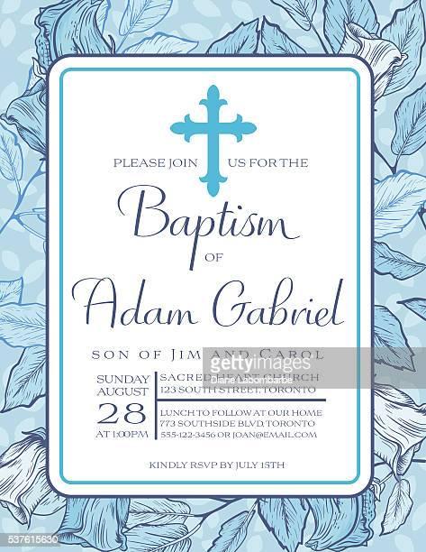 baby boy baptism or christening invitation template - catholic baptism stock illustrations