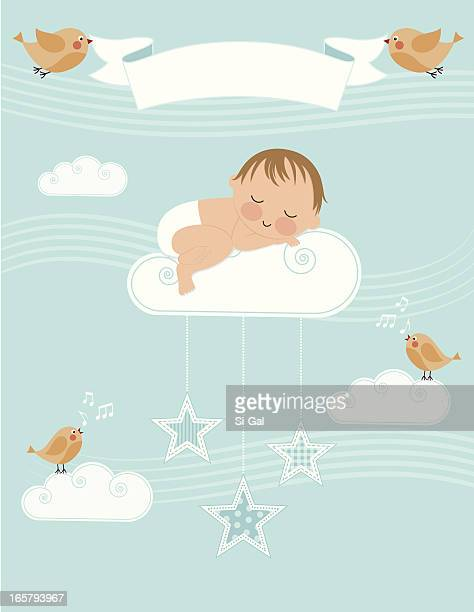 baby boy birth announcement - sleeping stock illustrations