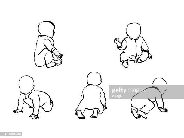 ilustrações, clipart, desenhos animados e ícones de baby boy engatinhar e sentar-se - engatinhando